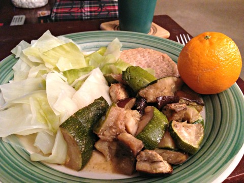 we went shopping so I wanted something quick before I went to the gym and not too much so I had one Purdue chicken burger, cabbage, eggplant and zucchini and one clementine for that vitamin C