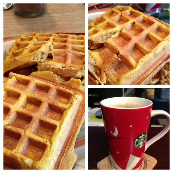 Waffles with a cup of Christmas blend. Yes I am still drinking this ( We bought about 8 bags)