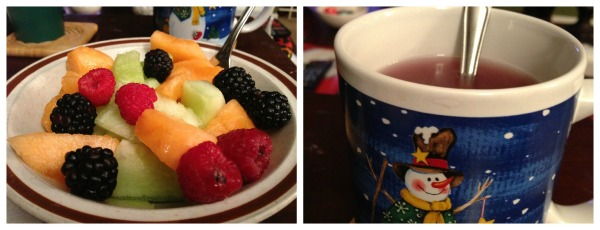 A bowl of Fruit, and I bought Apple Cider tea and wanted to try. it was really tasty.